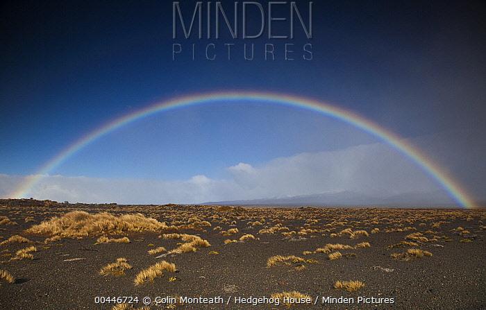 Rainbow over Rangipo Desert near Mount Ruapehu, Tongariro National Park, New Zealand  -  Colin Monteath/ Hedgehog House