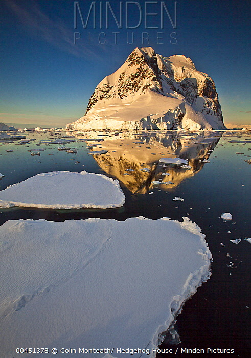 Lemaire Channel reflection at sunset, Antarctic Peninsula, Antarctica  -  Colin Monteath/ Hedgehog House