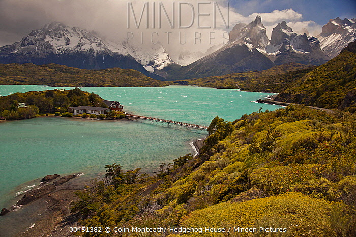 Hotel on small island in Lago Pehoe with Cuernos del Paine peaks above, Torres Del Paine National Park, Patagonia, Chile  -  Colin Monteath/ Hedgehog House