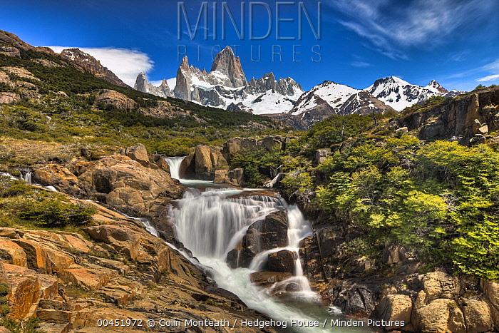 Waterfall below Mount Fitzroy, Los Glaciares National Park, Patagonia, Argentina  -  Colin Monteath/ Hedgehog House
