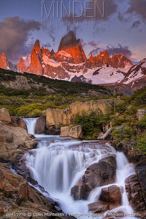 Waterfall at dawn below Mount Fitzroy, Los Glaciares National Park, Patagonia, Argentina  -  Colin Monteath/ Hedgehog House
