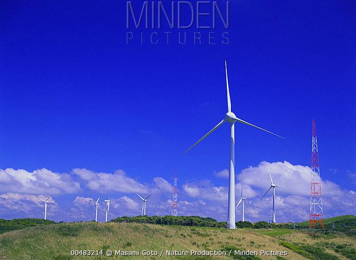Wind turbines, Hokkaido, Japan  -  Masami Goto/ Nature Production