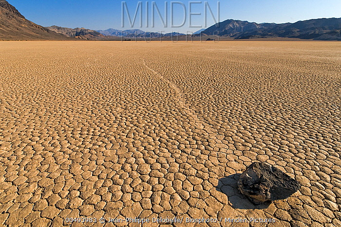 Racetrack Playa with mysterious 'sailing stones', Death Valley National Park, California  -  Jean-Philippe Delobelle/ Biospho