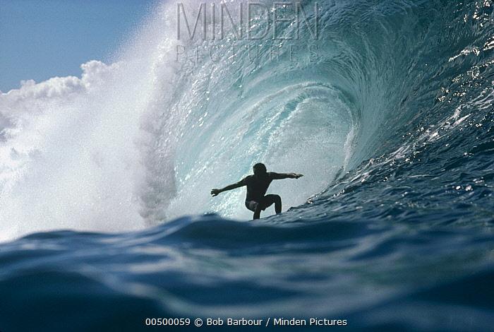 Surfer rides wave, Pipeline, Oahu, Hawaii  -  Bob Barbour