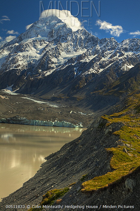 South face of Mount Cook above Hooker Valley with glacial lake, Mount Cook National Park, Canterbury, New Zealand  -  Colin Monteath/ Hedgehog House