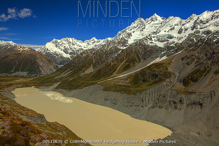 East face of Mount Sefton above Hooker Valley and glacial lake, Mount Cook National Park, Canterbury, New Zealand  -  Colin Monteath/ Hedgehog House