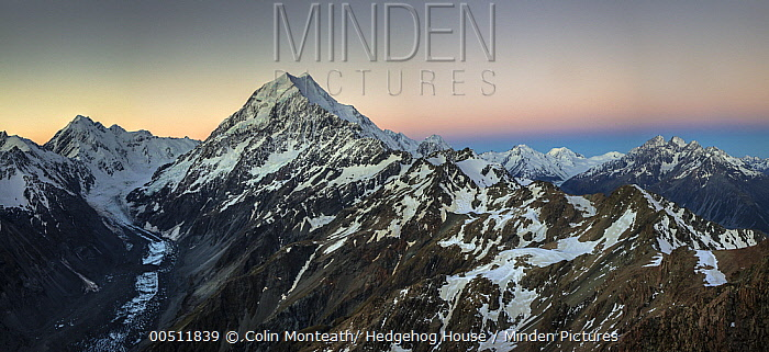 Mount La Perouse, Mount Cook, Tasman Glacier, and Malte Brun Range seen from summit of Mount Kinsey, Mount Cook National Park, Canterbury, New Zealand  -  Colin Monteath/ Hedgehog House