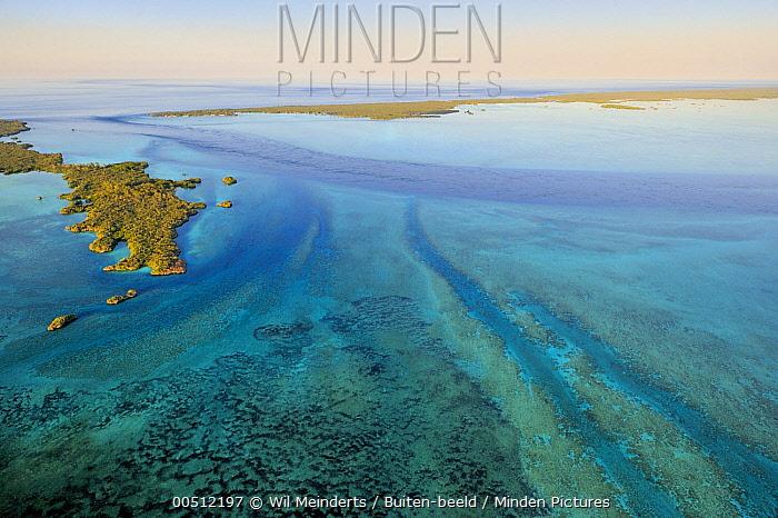 Aerial view of coral and tidal channels, Aldabra, Seychelles  -  Wil Meinderts/ Buiten-beeld