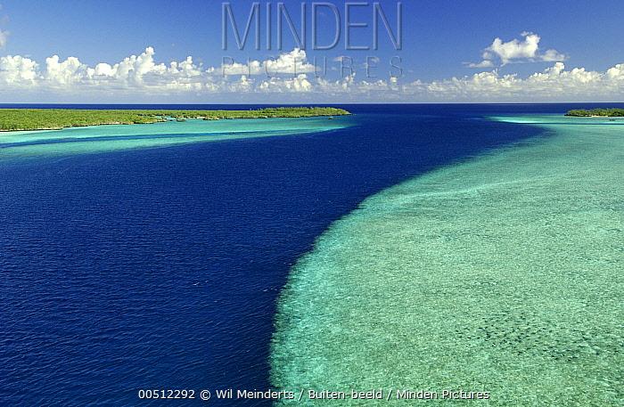Aerial view of tidal channel, Aldabra, Seychelles  -  Wil Meinderts/ Buiten-beeld