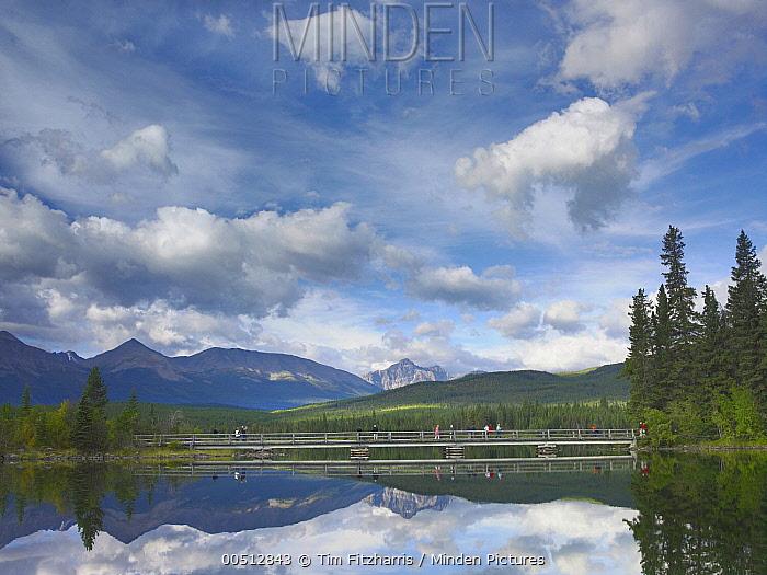 Trident Range and Pyramid Lake, Jasper National Park, Alberta, Canada  -  Tim Fitzharris