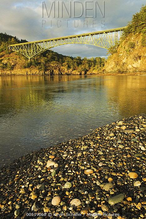Deception Pass Bridge from North Beach, Whidbey Island, Deception Pass State Park, Washington  -  Kevin Schafer