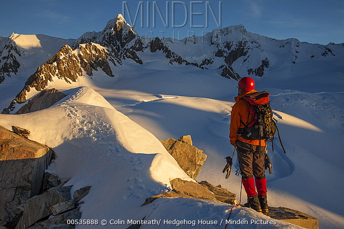 Climber near Pioneer Hut with Douglas Peak and Fox Glacier, Westland Tai Poutini National Park, New Zealand  -  Colin Monteath/ Hedgehog House