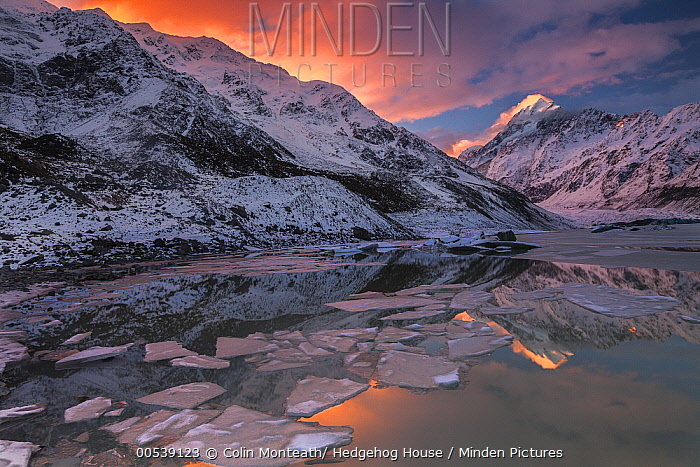 Mount Cook reflection in ice covered Mueller Lake, Mount Cook National Park, Canterbury, New Zealand  -  Colin Monteath/ Hedgehog House