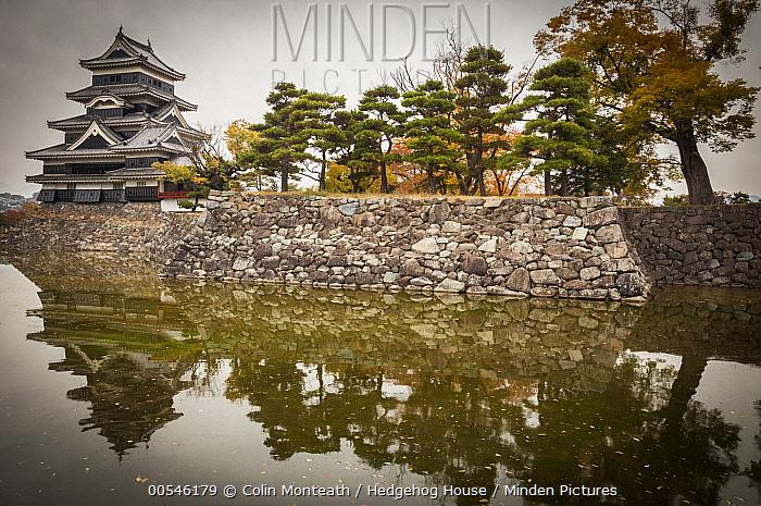 Castle and moat in autumn, Matsumoto Castle, Japan  -  Colin Monteath/ Hedgehog House