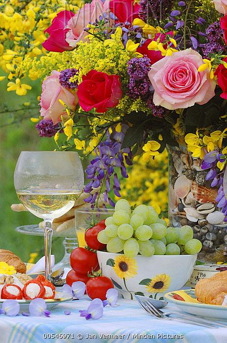 Rose (Rosa sp) flowers with wine and fruit  -  Jan Vermeer