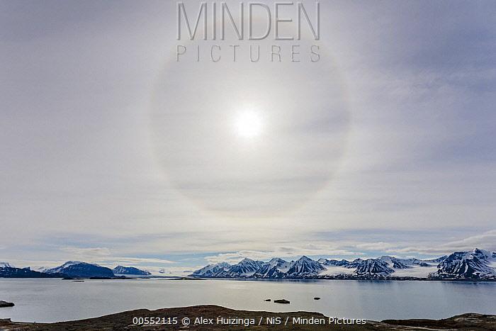 Halo around sun, Kongsfjorden, Svalbard, Norway