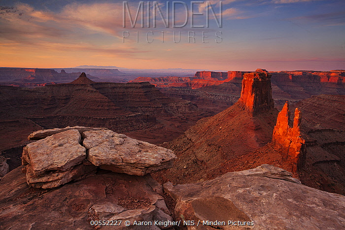 Sunrise at Bird's Eye Butte and Crow's Nest Butte, Marlboro Point, Moab, Utah