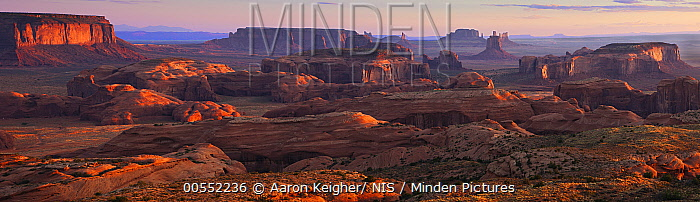 Buttes at sunrise, Hunts Mesa, Monument Valley, Arizona