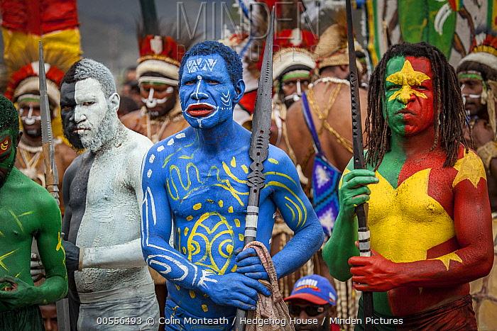 Men in ritual make-up and traditional clothing during a sing-sing, Goroka Show, Goroka, Eastern Highlands, Papua New Guinea