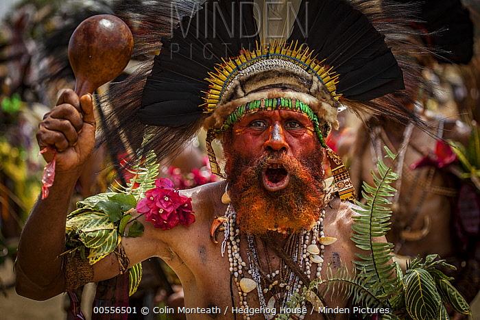 Man in ritual make-up and traditional clothing dancing during a sing-sing, Goroka Show, Goroka, Eastern Highlands, Papua New Guinea