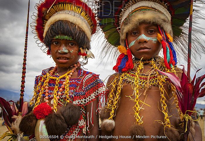 Boys in ritual make-up and traditional clothing during a sing-sing, Goroka Show, Goroka, Eastern Highlands, Papua New Guinea