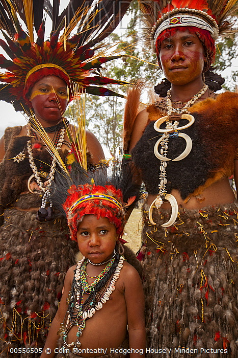 Women and girl in ritual make-up and traditional clothing during a sing-sing, Goroka Show, Goroka, Eastern Highlands, Papua New Guinea