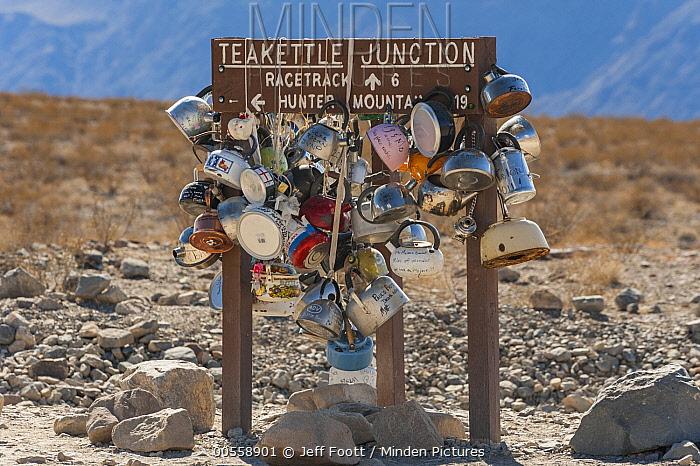 Sign with tea kettles, Tea Kettle Junction, Death Valley National Park, California