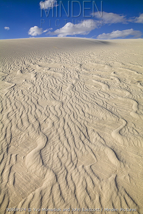 Ripples in white gypsum sand dunes, White Sands National Monument, New Mexico
