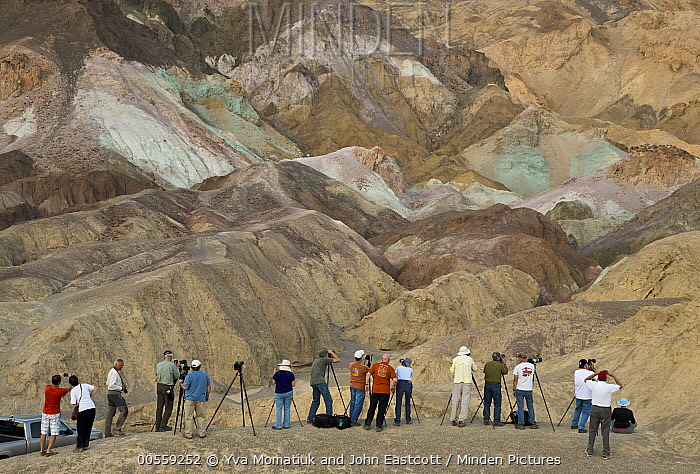Photographers taking pictures of Artist's Pallet, Death Valley National Park, California