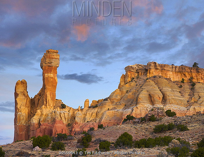 Rock formation at dawn, Chimney Rock, Ghost Ranch, New Mexico
