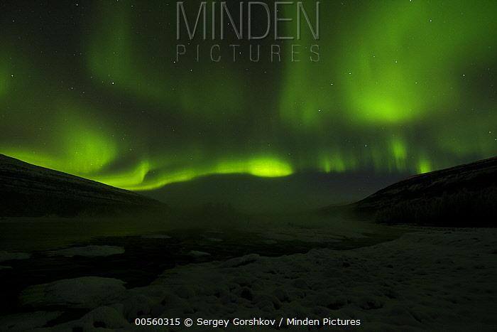 Aurora borealis over valley, Putorana Plateau, Siberia, Russia