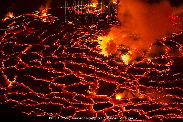 Lava in volcanic crater, Mount Nyiragongo, Virunga National Park, Democratic Republic of the Congo