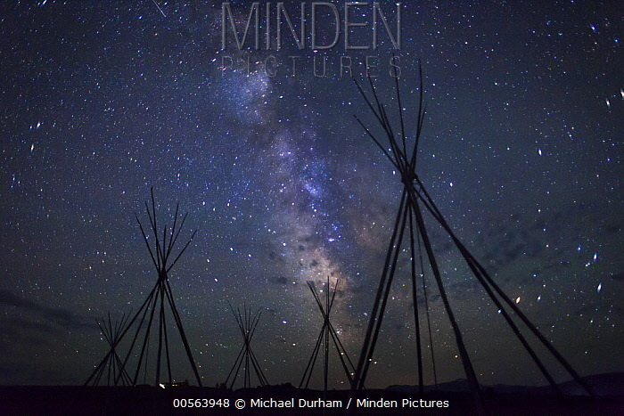 Teepee frames under the Milky Way from a Nez Perce encampment, Big Hole National Battlefield, Montana