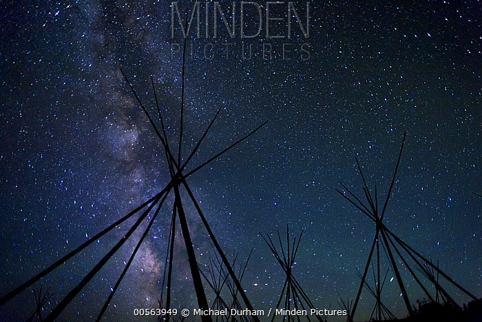 Tipi frames under the Milky Way from a Nez Perce encampment, Big Hole National Battlefield, Montana