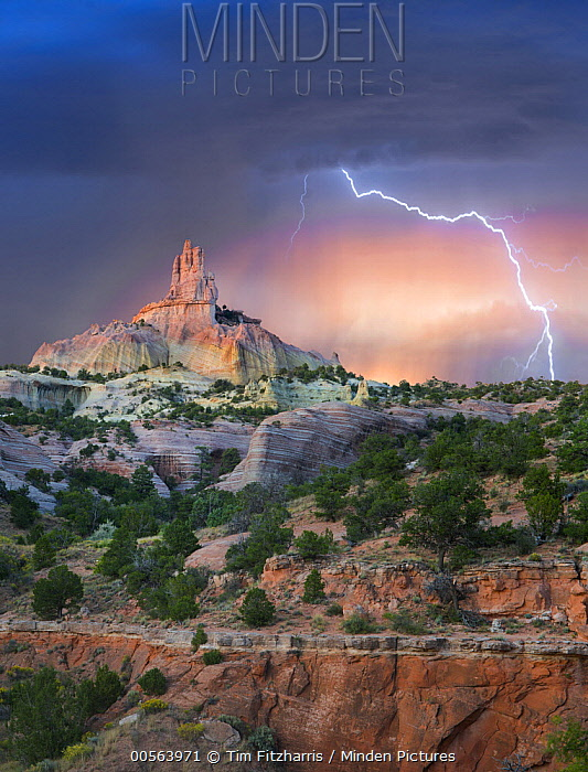 Lightning strike near rock formation, Church Rock, Red Rock State Park, New Mexico