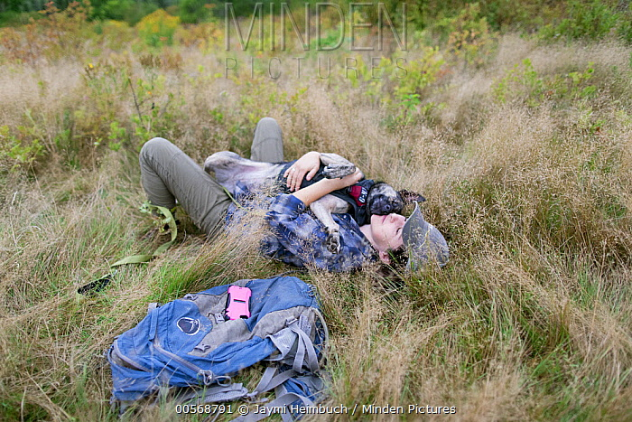 Domestic Dog (Canis familiaris) named Skye, a scent detection dog with Conservation Canines, relaxing with field technician Suzie Marlow, Adirondack Mountains, New York