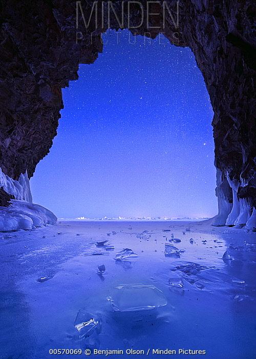Cave at night during polar vortex, Lake Superior, Tettegouche State Park, Minnesota, multiple exposures