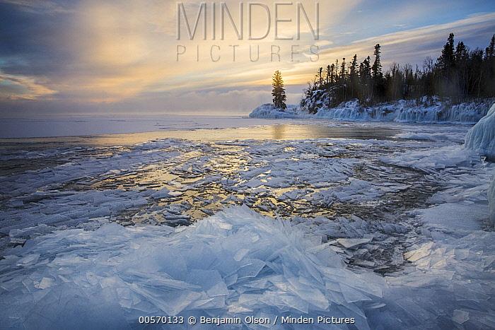 Skim ice in negative thirty degree fahrenheit at sunrise, Lake Superior, Grand Portage National Monument, Minnesota