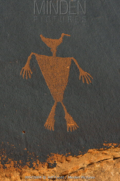 Duckhead Man petroglyph made by Ancestral Puebloans, Cedar Mesa, Bears Ears National Monument, Utah
