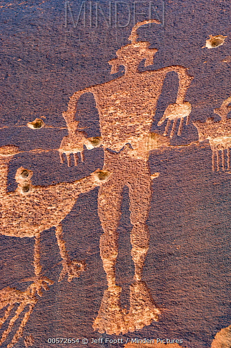 Petroglyphs made by Ancestral Puebloans with bullet holes, Wolfman Panel, Comb Ridge, Cedar Mesa, Bears Ears National Monument, Utah