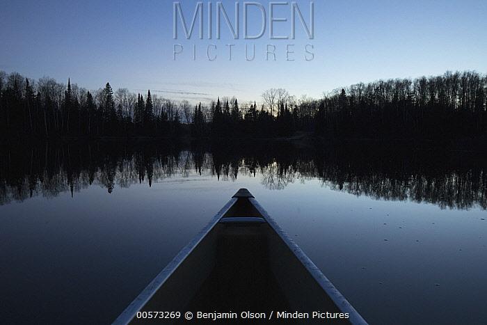 Canoe on lake, Superior National Forest, Minnesota