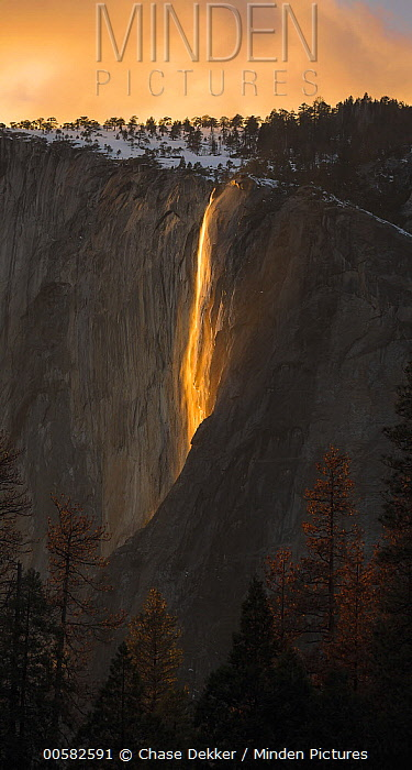 Horsetail Fall, low sun angle lights the rock wall during sundown creating a firefall, Yosemite National Park, California