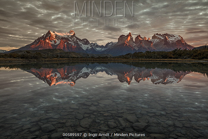 Mountains reflected in lake, Paine Massif, Torres del Paine, Torres del Paine National Park, Patagonia, Chile