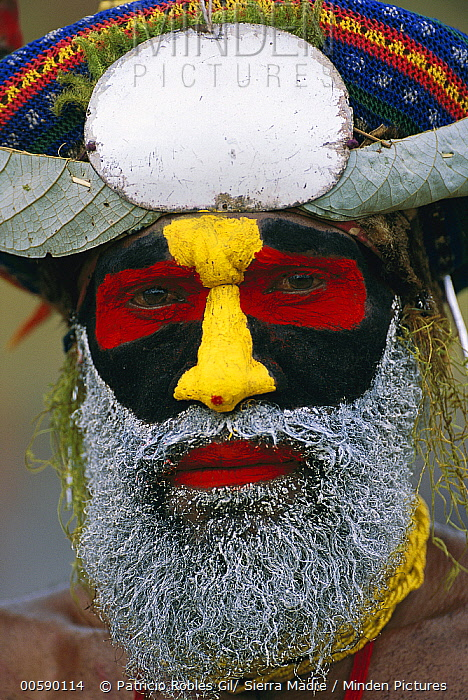 Aboriginal man with his face painted for the Mt Hagen cultural show, Papua New Guinea  -  Patricio Robles Gil/ Sierra Madr
