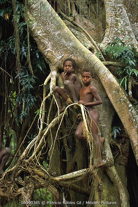 Young boys of the village of Yakel, Tanna Island, Vanuatu Archipelago, New Hebrides  -  Patricio Robles Gil/ Sierra Madr