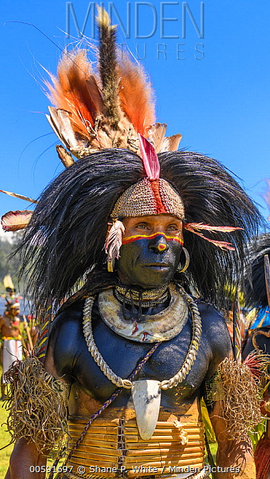 Indigenous person with black paint made from crude oil, Enga Show, Wabag, Western Highlands, Papua New Guinea