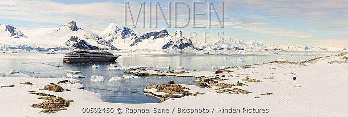 Tourists landing on shore from cruise ship, Peterman Island, Antarctic Peninsula, Antarctica