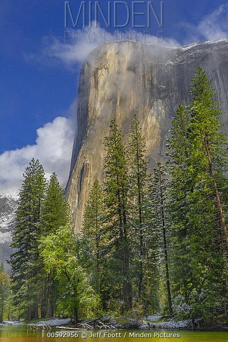 Granite cliff in mist, El Capitan, Yosemite National Park, California