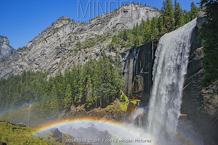 Waterfall and rainbow, Nevada Fall, Yosemite National Park, California
