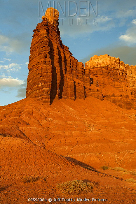 Rock formation at sunset, Chimney Rock, Capitol Reef National Park, Utah